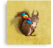 Squirrel with lollipop Metal Print