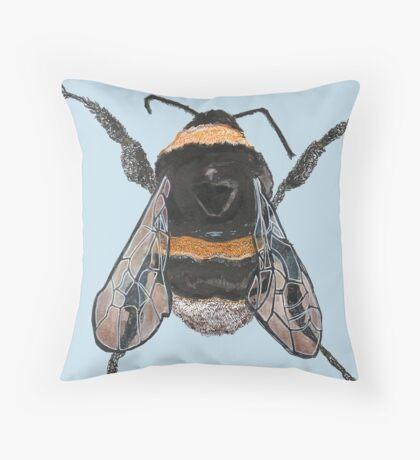 bumble bee blue Throw Pillow