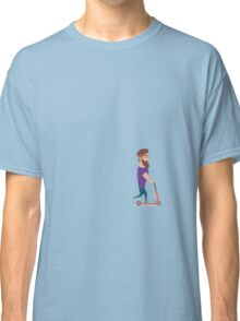 Young man racing a scooter Classic T-Shirt