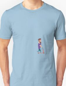 Young man racing a scooter Unisex T-Shirt
