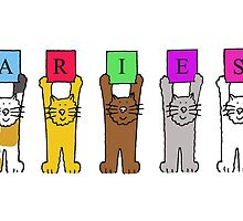 Aries birthday greetings with cartoon cats. by KateTaylor