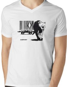 BANKSY - BARCODE Mens V-Neck T-Shirt