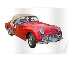 1957 Triumph TR3 Convertible Sports Car Poster