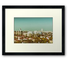 Aerial View Of Bucharest City Skyline Framed Print