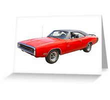 Red 1970 Dodge Charger R/t Muscle Car Greeting Card