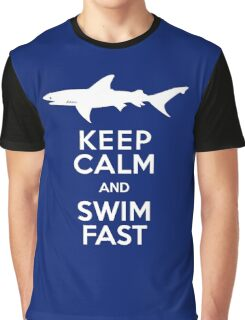 Keep Calm and Swim Fast Funny Graphic T-Shirt