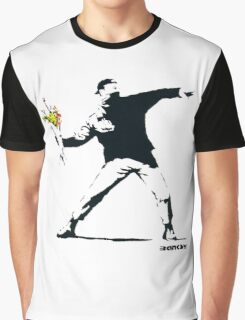 BANKSY - RAGE FLOWER THROWER Graphic T-Shirt