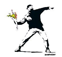 BANKSY - RAGE FLOWER THROWER Photographic Print