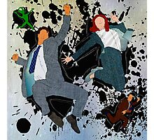 Mulder and Scully - Jump Photographic Print