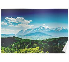 Carpathian Mountains Landscape With Blue Sky In Summer Poster