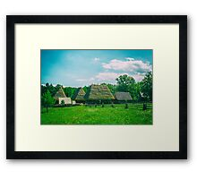 Old Romanian Village View In The Carpathian Mountains Framed Print