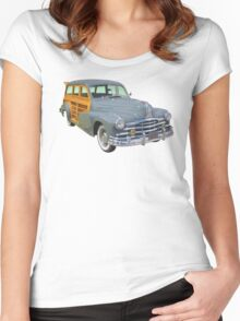 1948 Pontiac Silver Streak Woody Antique Car Women's Fitted Scoop T-Shirt