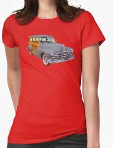 1948 Pontiac Silver Streak Woody Antique Car Womens Fitted T-Shirt