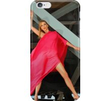 Naked Glamour Model dressed only in Red fabric at the the Bridge constructions iPhone Case/Skin