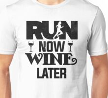 Run Now Wine Later T Shirt Adults Printed Workout Gym S Unisex Tank Top Men Women Fitness Marathon Exercise Funny Unisex T-Shirt