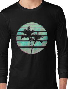 Vaporwave Palm Trees in the Sun - Blue Long Sleeve T-Shirt