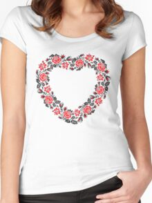 Red and Black Rose cross-stitch Pattern Women's Fitted Scoop T-Shirt