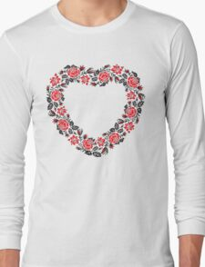 Red and Black Rose cross-stitch Pattern Long Sleeve T-Shirt