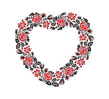 Red and Black Rose cross-stitch Pattern Photographic Print