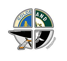 Oakland Area Pro Sports TETRAlogy! Raiders, Athletics (Oakland A's), San Jose Sharks and the Golden State Warriors by SplitDecision