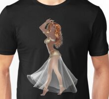 African American Woman with Red Hair Wearing Golden Belly Dance Clothing Unisex T-Shirt