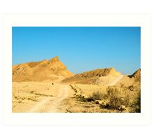 Dirt track through the  The Ramon Crater, Israel Art Print