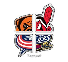 Ohio Pro Sports TETRAlogy! Cleveland Indians, Browns, Cavaliers and Columbus Blue Jackets  by SplitDecision