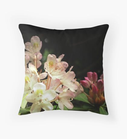 Blooming Pink Flowers & Blooms (Rhododendron) Throw Pillow