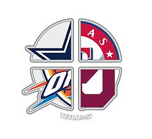 Oklahoma Sports TETRAlogy! Oklahoma City Thunder, Dallas Cowboys, Texas Rangers and University of Oklahoma Sooners by SplitDecision