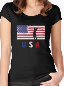 USA Golf 2016 competition golfer's tee funny t-shirt Women's Fitted Scoop T-Shirt