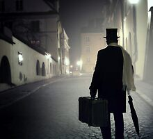 Victorian man with top hat carrying a suitcase  by JBlaminsky