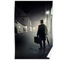 Victorian man with top hat carrying a suitcase  Poster