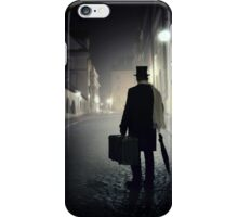 Victorian man with top hat carrying a suitcase  iPhone Case/Skin