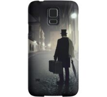 Victorian man with top hat carrying a suitcase  Samsung Galaxy Case/Skin