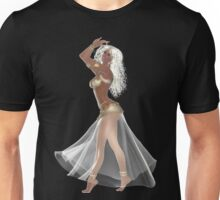 African American Woman with Blond Hair Wearing Golden Belly Dance Clothing Unisex T-Shirt