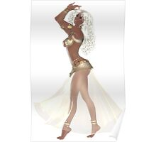 African American Woman with Blond Hair Wearing Golden Belly Dance Clothing Poster