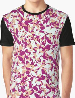 Crowded Flowers - Pink and Beige Graphic T-Shirt