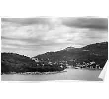 Dubrovnik Landscape BW Poster