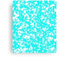 Crowded Flowers - Turquoise Canvas Print