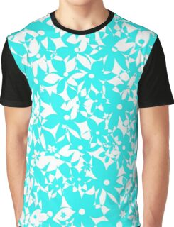 Crowded Flowers - Turquoise Graphic T-Shirt