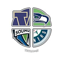 Seattle Sports TETRAlogy! Mariners, Seahawks, Sounders and University of Washington Huskies by SplitDecision