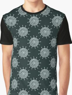 White doodle flower on black background. Simple seamless pattern. Hand drawn wallpaper.  Graphic T-Shirt