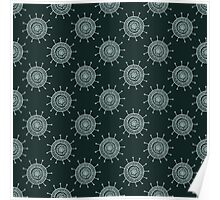 White doodle flower on black background. Simple seamless pattern. Hand drawn wallpaper.  Poster