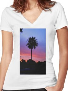 Lonely Sunset Palm Tree Women's Fitted V-Neck T-Shirt