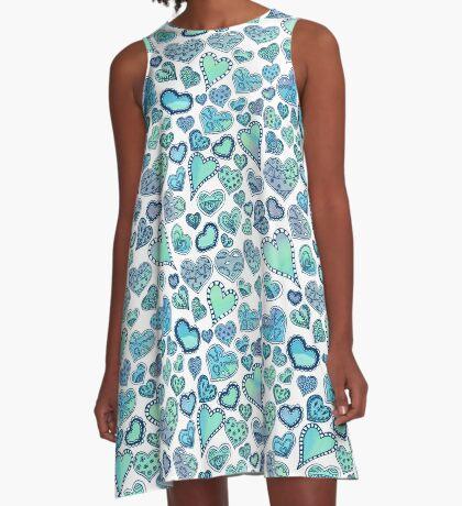 Hippie hearts - Blue-Green A-Line Dress