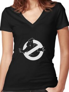 white Ghostbusters logo Women's Fitted V-Neck T-Shirt