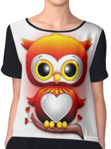 Baby Owl Love Heart Cartoon  Chiffon Top