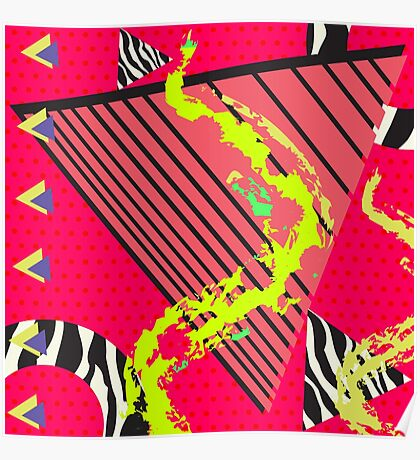 Totally Rad Red 1980s Geometric Pattern Poster
