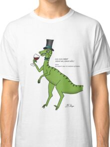 Wine Connoisseur Dinosaur Cartoon Illustration Classic T-Shirt