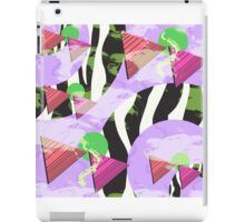 1980s Geometric Pattern Purple Triangles Splatters and Zebra Print iPad Case/Skin